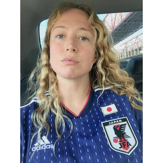 Raquel Zimmermann, supporting the Japanese soccer team.