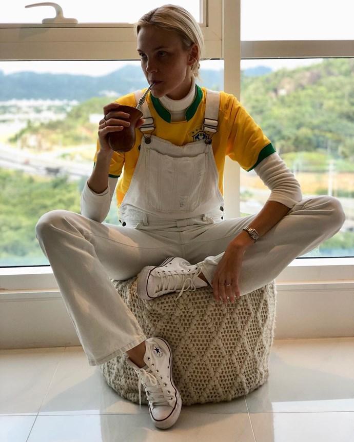 Caroline Trentini, supporting the Brazilian soccer team.