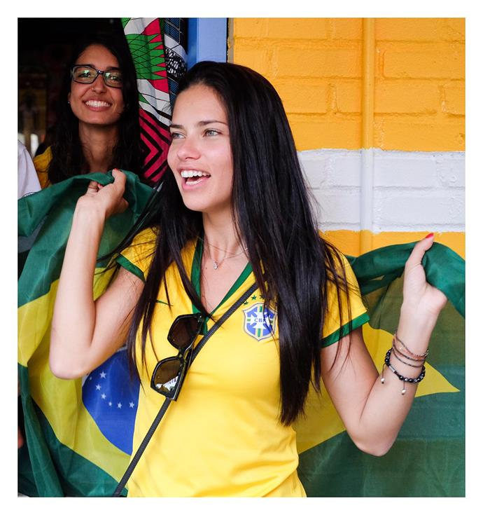Adriana Lima, supporting the Brazilian soccer team.