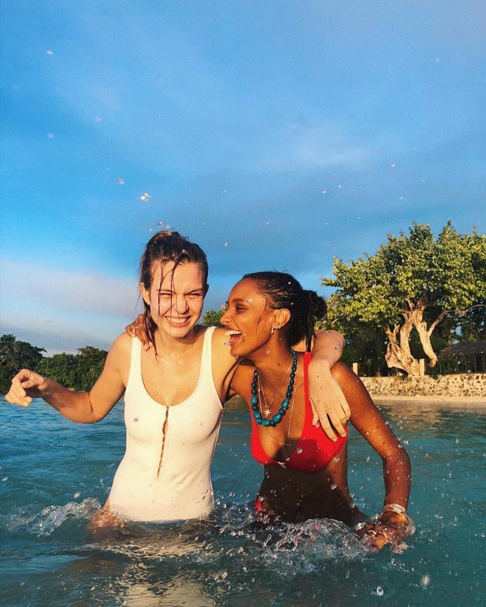 Josephine Skriver and Jasmine Tookes enjoy a swim.