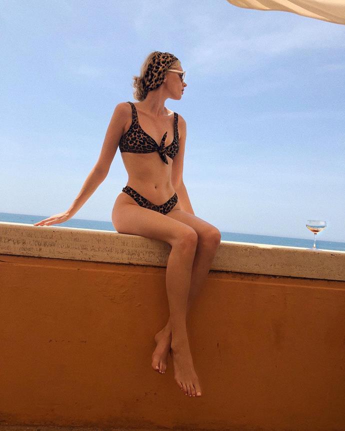 Elsa Hosk sports a leopard print bikini in Italy.