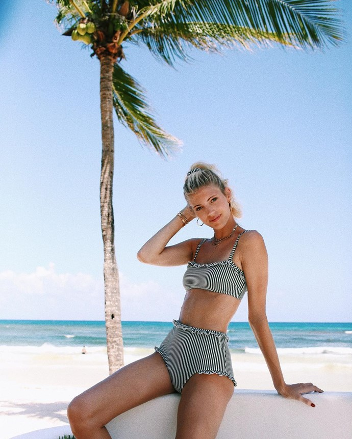 Devon Windsor enjoys the view in Tulum.