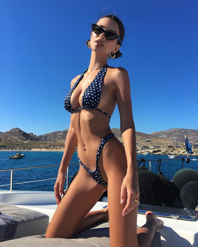 Emily Ratajkowski vacations in Greece.