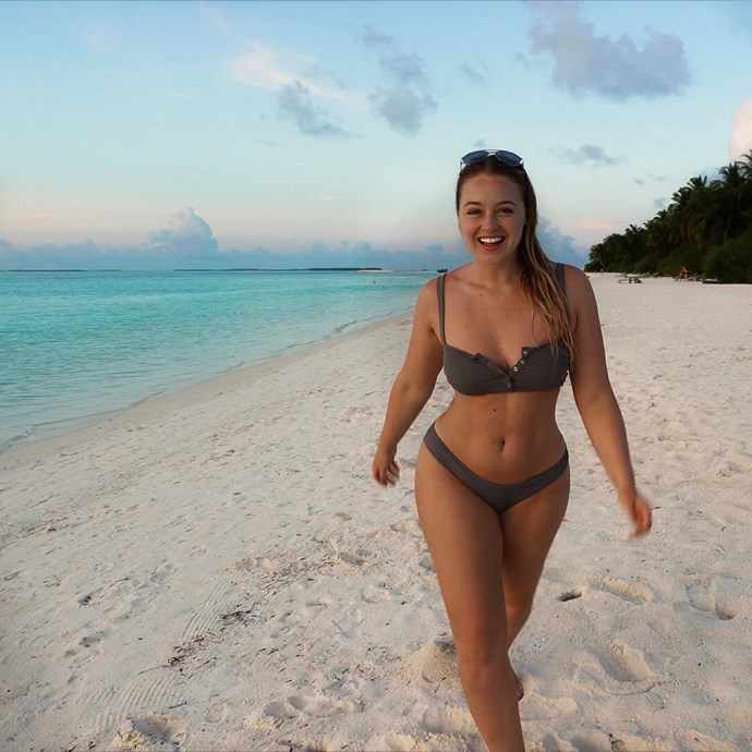 Iskra Lawrence in the Maldives.