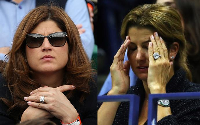 Mirka Federer in 2014 (left) and recently, wearing her new ring at the Australian Open in 2017 (right).