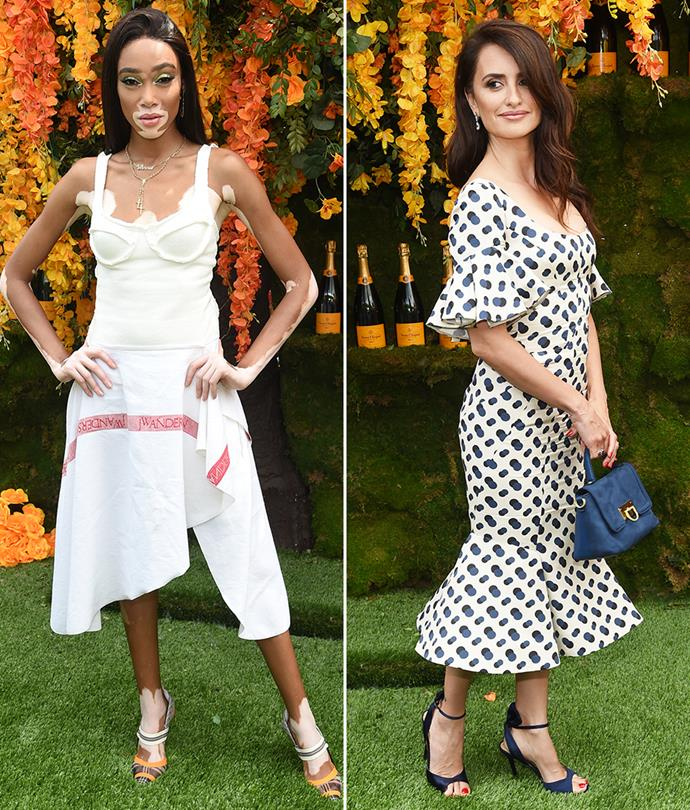 Model Winnie Harlow and actress Penélope Cruz at the Veuve Clicquot Polo Classic.