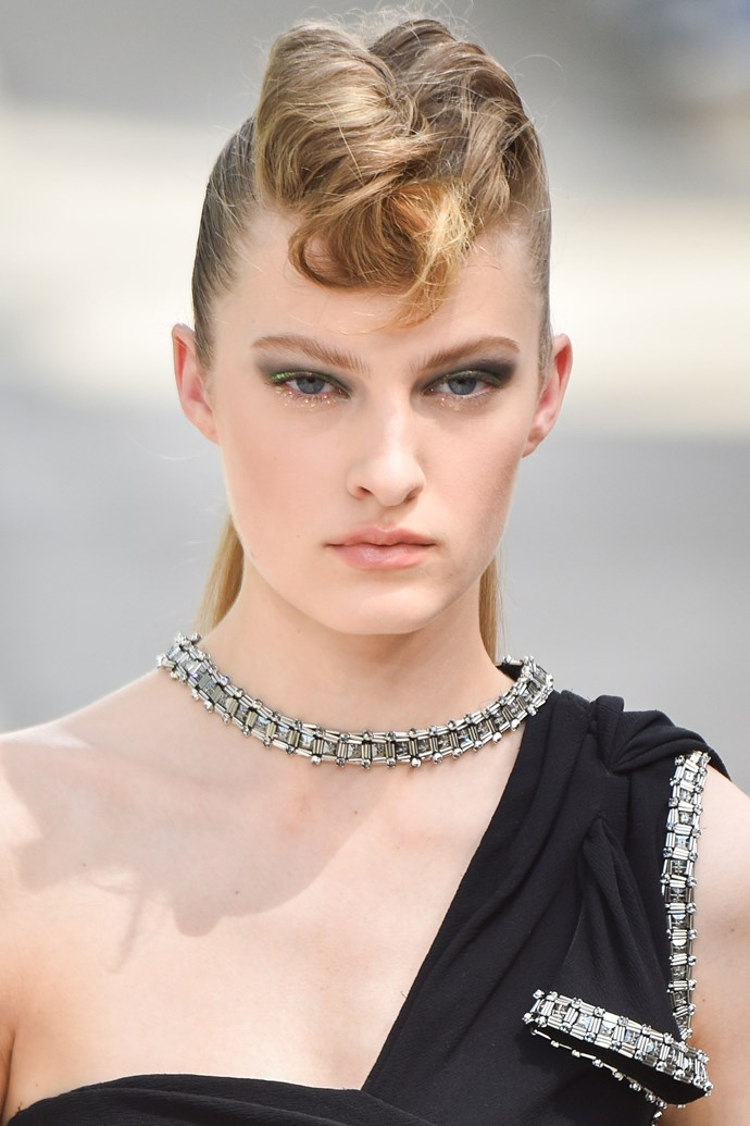 "**CHANEL HAUTE COUTURE: ROCKABILLY MOHAWKS** <br><br> While the classic Chanel tweed looks that walked down [this year's couture runway](https://www.harpersbazaar.com.au/fashion/chanel-couture-autumn-winter-2018-16868 |target=""_blank"") typically call for a simple and elegant hair style, lead stylist [Sam McKnight](https://www.instagram.com/hairbysammcknight/?hl=en