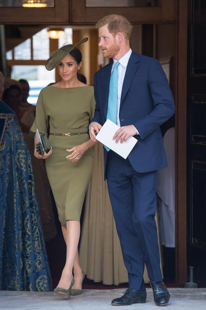 Meghan, Duchess of Sussex, in all green.