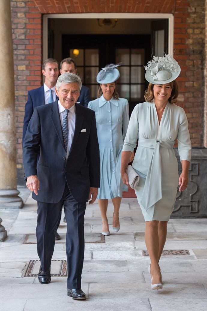 Carole Middleton in all blue.