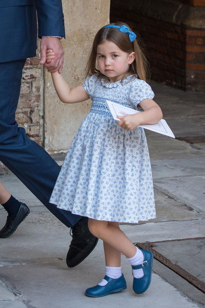 Princess Charlotte of Cambrige, in all baby blue.