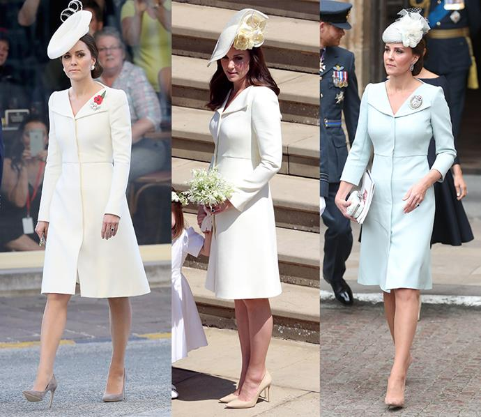If it isn't broke, why fix it? Kate has had this bespoke Alexander McQueen coat-dress made for her three times—once in cream for the christening of her daughter, Princess Charlotte; one in light yellow for Meghan and Harry's wedding; and one in light powder blue for the RAF100 event.