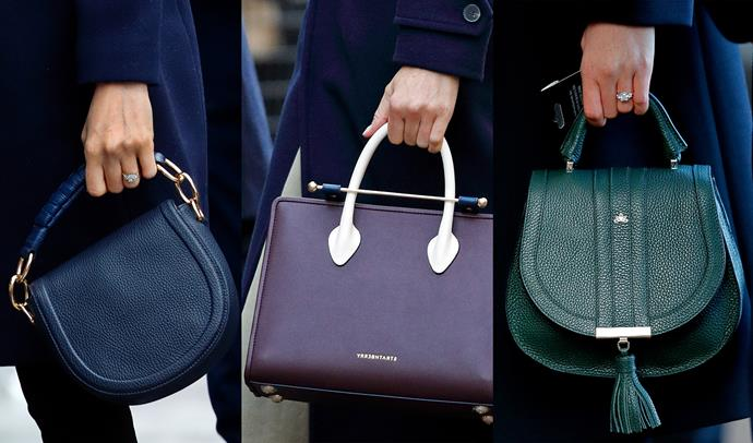 ***Top handle bags***<br> Immediately after her engagement, Meghan surprised fans when she eschewed the traditional clutch (royal ladies generally carry one because it discourages people from reaching for their hand to shake) and favoured top-handle bags. Although she does carry a small clutch for formal events, Meghan can often be seen carrying top-handles for more casual events.