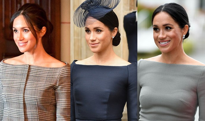 ***Bateau necklines*** <br> Since her wedding in May, Meghan has revealed her affinity for the bateau neckline. After choosing it for her Clare Waight Keller for Givenchy wedding gown, Meghan has worn this particular shape more than six times in two months. The pin-straight neck, which typically stretches from the tip of one shoulder to the other, is an elegant and wearable choice.