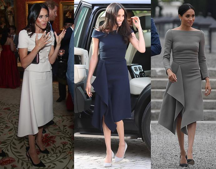 ***Asymmetrical –draped skirts***<br> Being quite a niche shape, we were surprised to see Meghan gravitate towards dresses and skirts that feature an asymmetrical draped detail. The day before her wedding, the duchess wore a navy Roland Mouret dress with a waterfall element. Next, Meghan wore a similar skirt as part of a Prada skirt-suit ensemble, and then followed it up with another Roland Mouret dress with the same shape—this time featuring longer sleeves and a bateau neck.