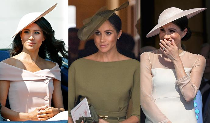 ***Saucer-shaped hats***<br> Credit where credit is due, Meghan has worn a variety of hats. Trying out berets, wide-brims and more structural confections from the likes of Stephen Jones and Philip Treacy, Meghan has been playful in the headwear department. But one shape we've seen her turn to more than any other is the saucer-shape. This thin, flat shape is made to sit asymmetrically.