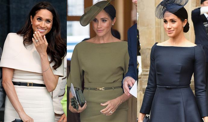 ***Very thin belts***<br> Have you ever noticed that most of Meghan's outfits include a very, very thin buckled belt? Whether it's a Givenchy-clasped belt or one custom-made for her dress, Meghan is rarely without something to cinch her waist.