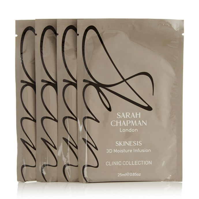 "**Sarah Chapman 3D Moisture Infusion Mask, $74 (pack of 4) at [Net-A-Porter](https://www.net-a-porter.com/au/en/product/487436?cm_mmc=LinkshareUS-_-ty8NUtOSnl0-_-Custom-_-LinkBuilder&siteID=ty8NUtOSnl0-_xuqX6HMksfuwJD8RiF_8w&Narrativ=Narrativ|target=""_blank""