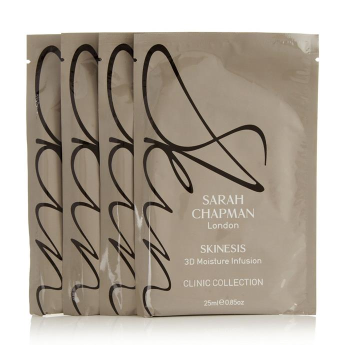 """**Sarah Chapman 3D Moisture Infusion Mask, $74 (pack of 4) at [Net-A-Porter](https://www.net-a-porter.com/au/en/product/487436?cm_mmc=LinkshareUS-_-ty8NUtOSnl0-_-Custom-_-LinkBuilder&siteID=ty8NUtOSnl0-_xuqX6HMksfuwJD8RiF_8w&Narrativ=Narrativ