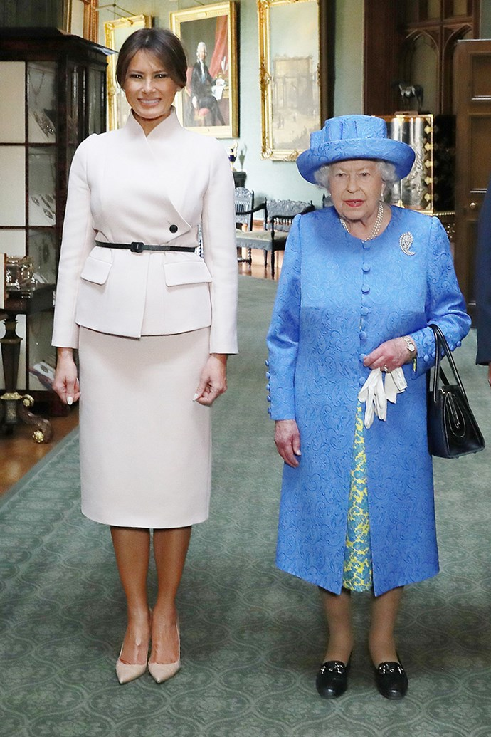 Melania Trump wears an ivory Dior skirt suit to meet Queen Elizabeth II at Blenheim Palace in Oxfordshire on 14th July, 2018.