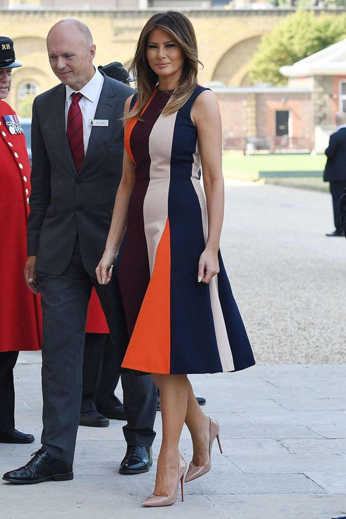 Melania Trump wearing Victoria Beckham for a meeting with the Chelsea Pensioners in London on 14th July, 2018.