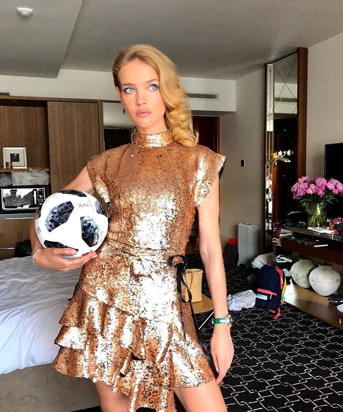 Natalia Vodianova, supporting the French soccer team.