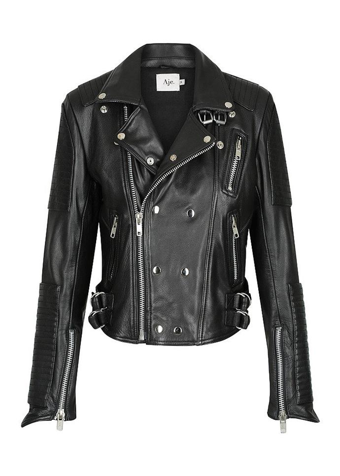 """Bowie Leather Jacket, $895 at [Aje](https://a-j-e.com.au/products/aje-bowie-leather-jacket-embossed-logo?variant=44269082250 target=""""_blank"""") <br><br> A classic biker-style jacket designed with silver metal hardware and the Aje logo embossed on the back."""