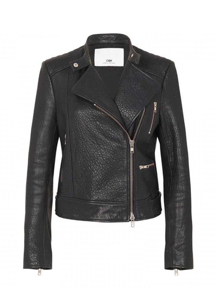 """Tempo Leather Jacket, $999 at [Camilla and Marc](https://www.camillaandmarc.com/tempo-leather-jacket-black.html# target=""""_blank"""") <br><br> A traditional calf skin leather style featuring silver hardware and zip pockets."""