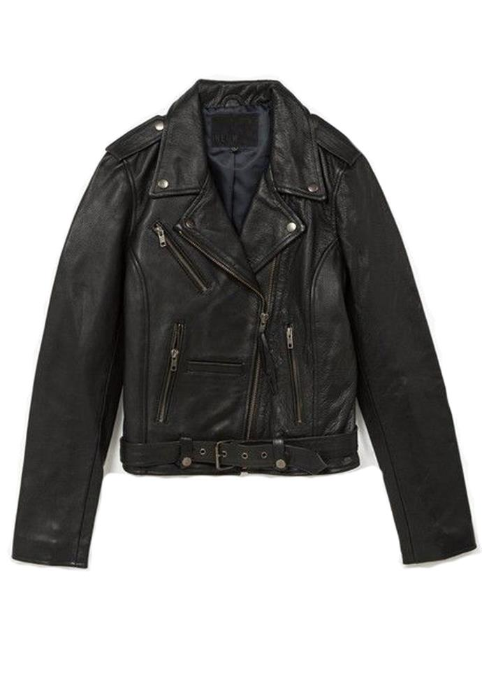 """Berlin Jacket Black Leather, $649 at [NEUW](https://neuwdenim.com/womens/jackets/berlin-jacket-black-leather-17.html target=""""_blank"""") <br><br> Inspired by the leather jacket Iggy Pop wore in 1970's Berlin, this leather jacket is both functional and feminine."""