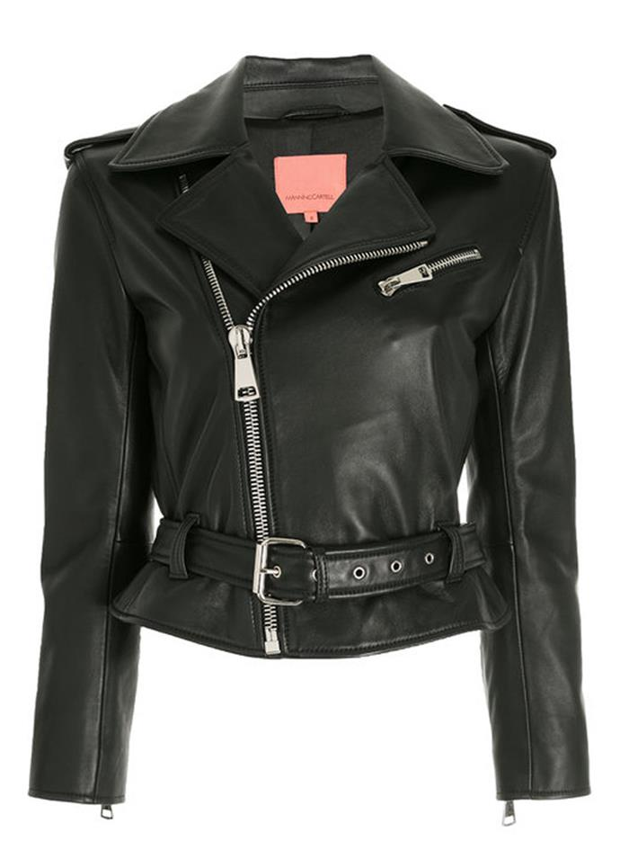 """Open Season Leather Jacket, $799 at [Manning Cartell](https://www.manningcartell.com.au/open-season-leather-jacket-9941.html target=""""_blank"""") <br><br> A timeless piece with slightly cropped sleeves and chunky silver hardware."""
