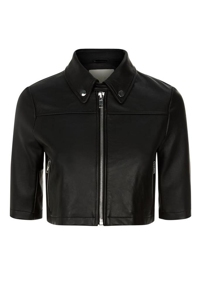 """Cropped Leather Jacket, $470 at [Maje](https://us.maje.com/en/categories/coats-and-jackets/brittany/E18BRITTANY.html?dwvar_E18BRITTANY_color=0002 target=""""_blank"""") <br><br> A minimalist approach to the classic leather jacket, featuring short sleeves and functional pockets."""