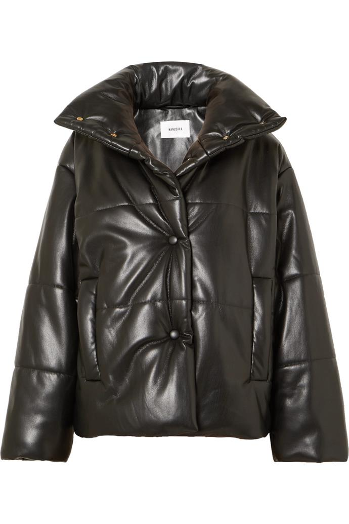 """Hide quilted vegan faux leather jacket, $759.30, Nanushka at [Net-A-Porter](https://www.net-a-porter.com/au/en/product/1076613/nanushka/hide-quilted-vegan-faux-leather-jacket target=""""_blank"""") <br><br> An oversized take on the traditional leather jacket, fashioned in a quilted fabric for a fashion-forward silhoutte."""