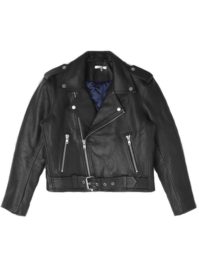 """Biker Jacket, $768, Ganni at [Shopbop](https://www.shopbop.com/biker-jacket-ganni/vp/v=1/1547975747.htm target=""""_blank"""") <br><br> A classic biker leather jacket with metal hardware and dark blue lining, you can't go wrong."""