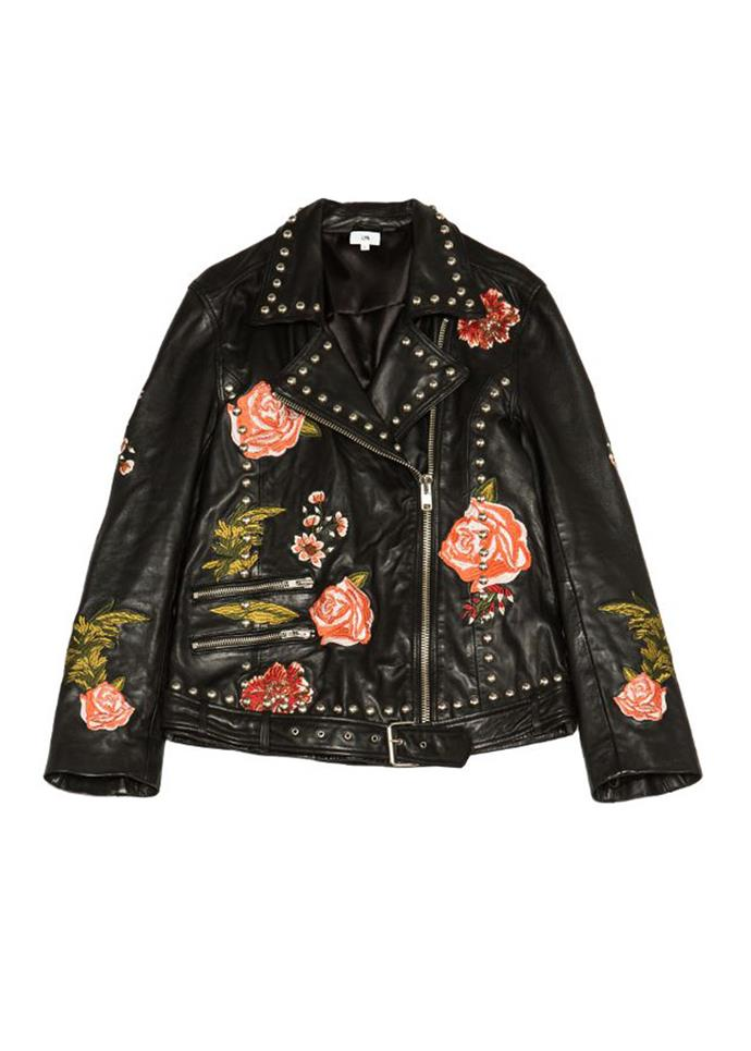 """Rose studded leather jacket, $701, LPA at [Saks Fifth Avenue](https://www.saksfifthavenue.com/main/ProductDetail.jsp?PRODUCT%3C%3Eprd_id=845524447159707&R=190831035071&P_name=LPA&Ntt=lpa&N=0&bmUID=misUsvL target=""""_blank"""") <br><br> Adding a little colour with embroidery all over, LPA's oversized leather jacket is both modern and unique."""