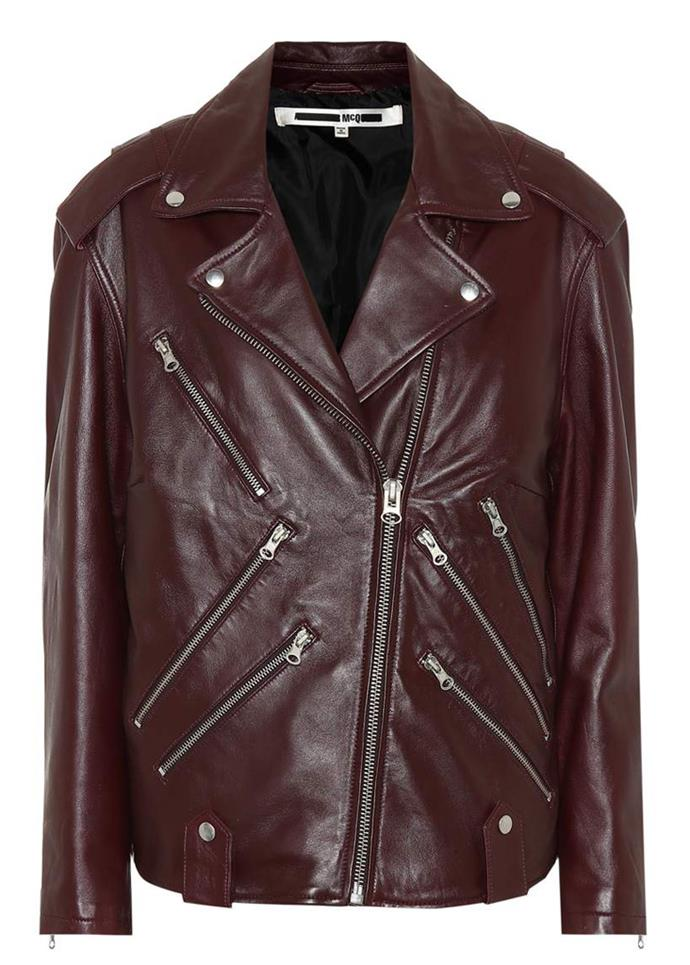 """Leather motorcycle jacket, $955, McQ Alexander McQueen at [Mytheresa](https://www.mytheresa.com/en-au/mcq-alexander-mcqueen-leather-motorcycle-jacket-1033674.html?catref=category target=""""_blank"""") <br><br> A signature leather motocycle jacket in a mulberry shade with extra zips and hardware."""