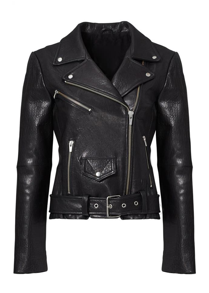 """Black Jayne Classic Moto Jacket, $990 at [Veda](https://www.thisisveda.com/products/jayne-jacket-black target=""""_blank"""") <br><br> A motocycle lamb skin leather jacket, featuring multiple front zip closures and pockets."""