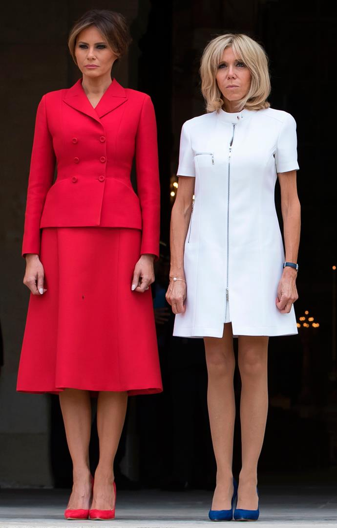 Wearing a white-hued version of her red and grey Louis Vuitton mini dresses for a welcome ceremony at Les Invalides in Paris, on 13 July, 2017.
