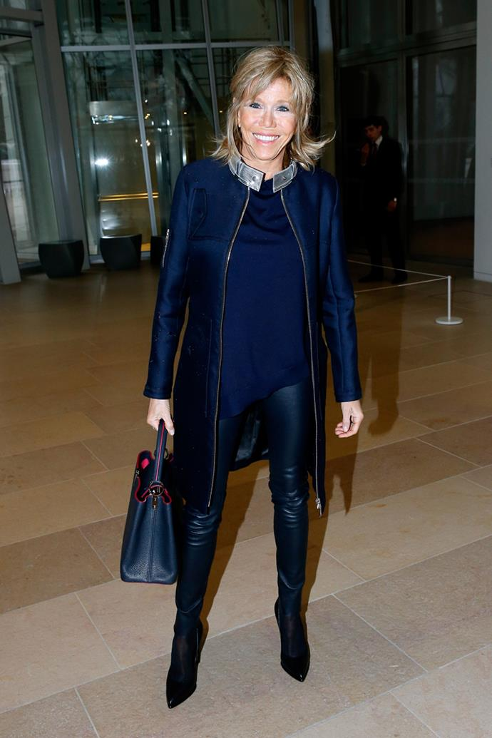 Wearing head-to-toe Louis Vuitton at the French house's Paris Fashion Week show on 9 March, 2016.