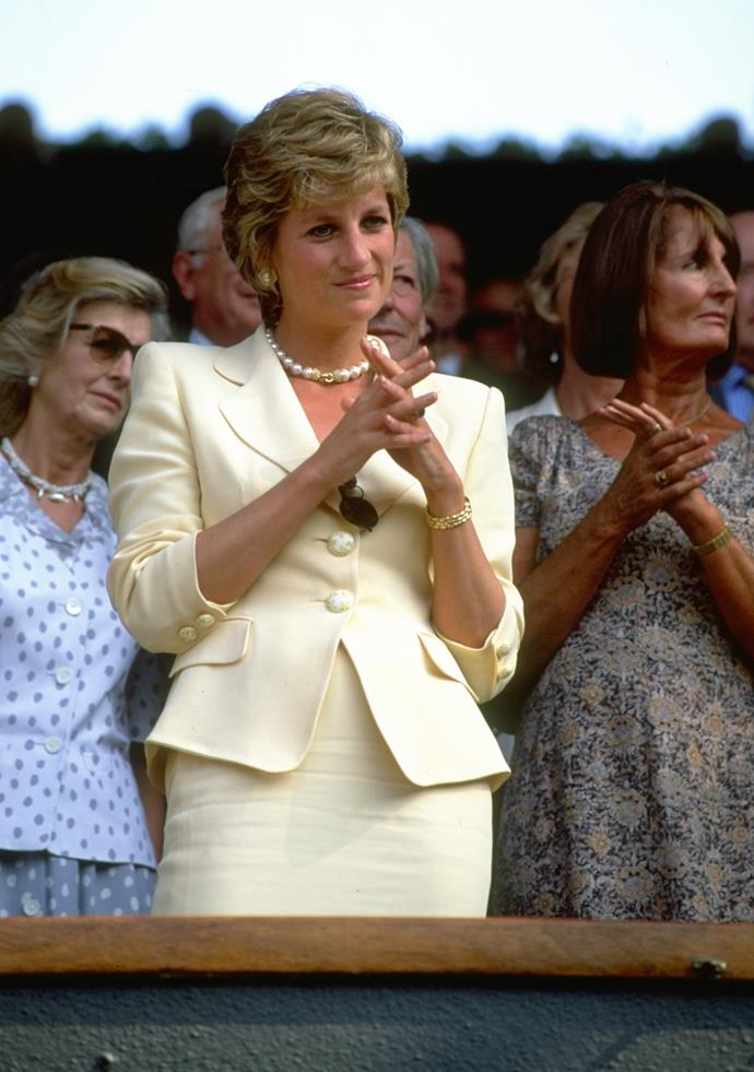 Princess Diana at Wimbledon in 1995.