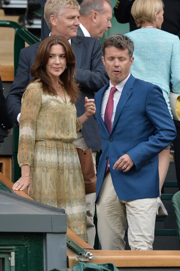 Denmark's Crown Prince Frederik and Princess Mary at Wimbledon in 2014.