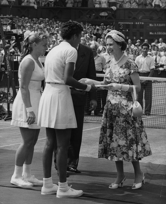 Queen Elizabeth II at Wimbledon in 1957.
