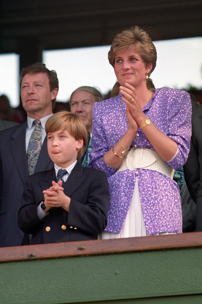 Princess Diana and Prince William at Wimbledon in 1991.