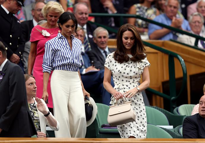 Meghan Markle and Kate Middleton at Wimbledon in 2018.