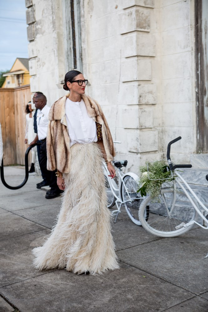 ***Go long with a maxi skirt***<br><br> We find the best way avoid cold legs is to cover them completely. Take a look at Jenna Lyon's dramatic feathered maxi at the wedding of Solange Knowles.
