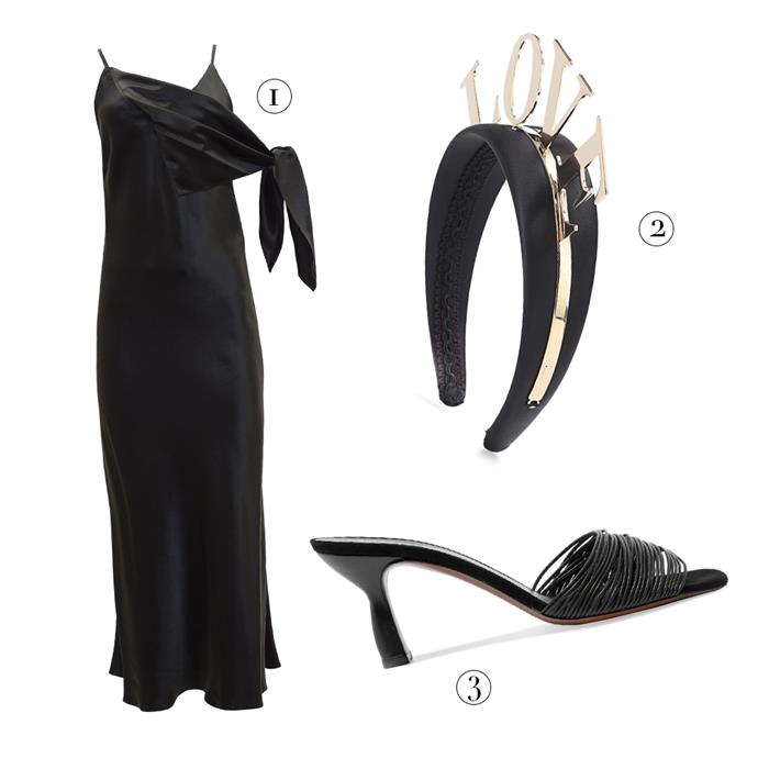 """1, Dress by Christopher Esber, $790 at [The Undone](https://www.theundone.com/collections/dresses/products/christopher-esber-furoshiki-scarf-tie-dress target=""""_blank"""" rel=""""nofollow""""); 2, Headband by Dolce & Gabbana, $660 at [MyTheresa](https://www.mytheresa.com/en-au/dolce-gabbana-embellished-satin-headband-879988.html?gclid=EAIaIQobChMIp_6wl9Cn3AIVE-O9Ch2pIgiKEAkYIiABEgJXt_D_BwE&ef_id=Wac6ywAAAE0vBXxO:20180718024231:s target=""""_blank"""" rel=""""nofollow""""); 3, Sandals by Neous, $592 at [Net-A-Porter](https://www.net-a-porter.com/au/en/product/1070302/neous/ada-suede-trimmed-leather-mules target=""""_blank"""" rel=""""nofollow"""")."""
