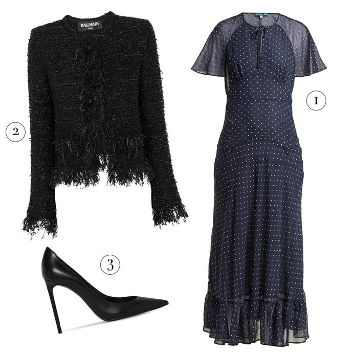 """1, Dress by ALEXACHUNG, $774 at [MATCHESFASHION.COM](https://www.matchesfashion.com/au/products/Alexachung-Polka-dot-print-crepe-dress-1221734 target=""""_blank"""" rel=""""nofollow""""); 3, Jacket by Balmain, $2,352 at [Net-A-Porter](https://www.net-a-porter.com/au/en/product/1061812/balmain/frayed-metallic-boucle-jacket target=""""_blank"""" rel=""""nofollow""""); Pumps by Saint Laurent, $920 at [Luisaviaroma](https://www.luisaviaroma.com/en-au/p/saint-laurent/women/pumps/68I-G5D008?ColorId=MTAwMA2&SubLine=shoes&CategoryId=95&lvrid=_p_dZ3O_gw_c95 target=""""_blank"""" rel=""""nofollow"""")."""