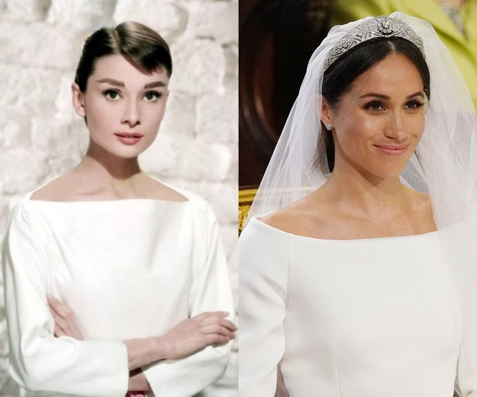 Here's where it gets interesting: At Meghan's wedding, the bride opted for a boat neck on her custom Givenchy dress, a look widely regarded as one of Audrey's signature styles.