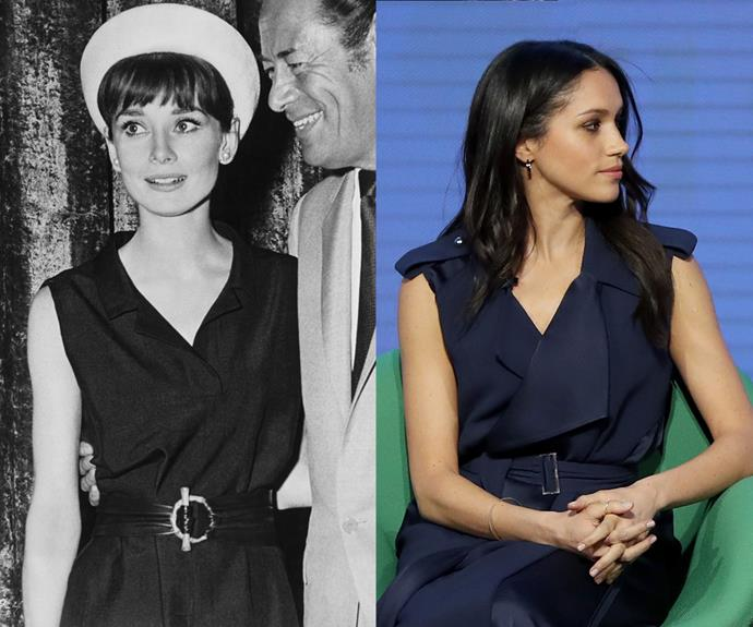 Audrey and Meghan have both worn asymmetrical navy cross-over dresses, fixed with a wrap belt to emphasise the waist.