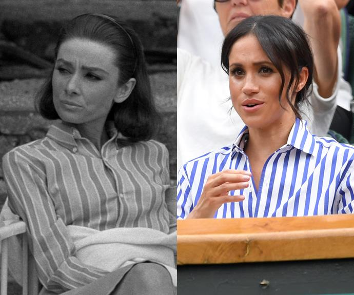 "Meghan also channelled Audrey's striped spectator shirt for her latest appearance at [Wimbledon](https://www.harpersbazaar.com.au/culture/meghan-markle-kate-middleton-wimbledon-2018-16938|target=""_blank"")."