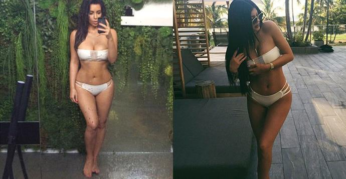 Kim Kardashian and Kylie Jenner wearing the same bikini, and looking equally good in it. (Image source: Instagram)