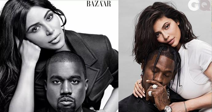 The two even pose with their partners the same. (Image source: *Harper's BAZAAR US* and *GQ*)